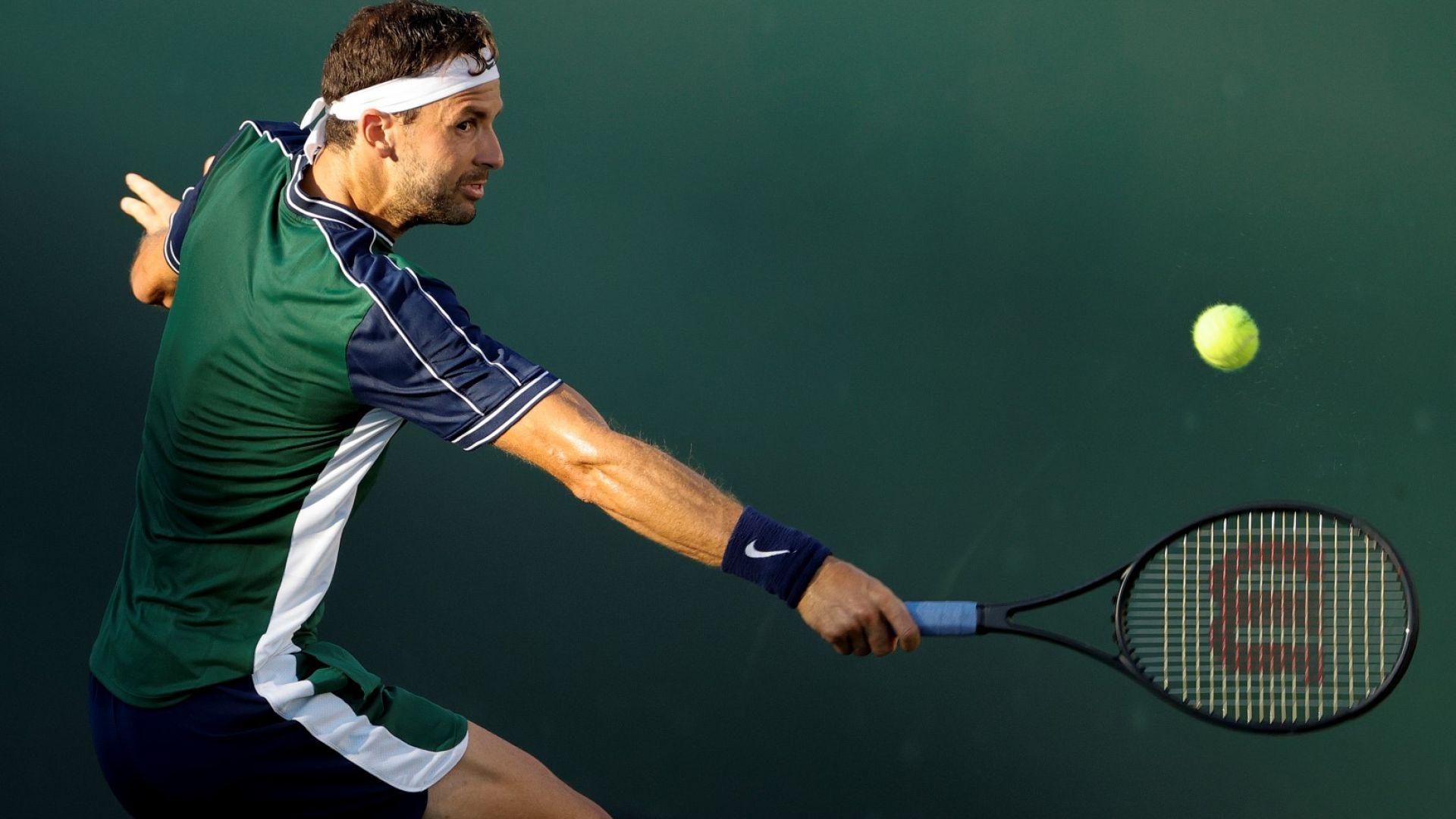 Победа след сет за учебниците по тенис от Григор Димитров в Индиън Уелс
